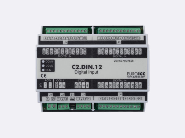 PLC Controller for Guest Room Management System, Smart Hotel Control and Home Automation – BACnet programmable functional controller BACnet PLC – C2.DIN.12 designed for wide range of building automation    and guest room management system tasks can be used in remote fields IO in any Bacnet and/or Modbus network – Native Bacnet programmable device, 24 digital inputs