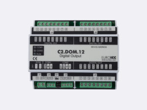 PLC Controller for Guest Room Management System, Smart Hotel Control and Home Automation - BACnet programmable functional controller BACnet PLC – C2.DOM.12 designed for wide range of building automation and guest room management system tasks can be used in remote fields IO in any Bacnet and/or Modbus network – Native Bacnet programmable device, 12 relay outputs