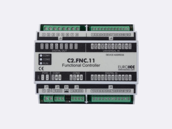 PLC Controller for Guest Room Management System, Smart Hotel Control and Home Automation – BACnet programmable functional controller BACnet PLC – C2.FNC.11 designed for wide range of building   automation and guest room management system tasks – 4 relay outputs, 8 digital inputs, 6 universal inputs