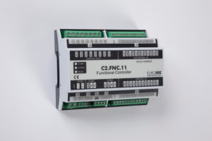 PLC Controller for Guest Room Management System, Smart Hotel Control and Home Automation - BACnet programmable functional controller BACnet PLC – C2.FNC.11 designed for wide range of building automation and guest room management system tasks – 4 relay outputs, 8 digital inputs, 6 universal inputs