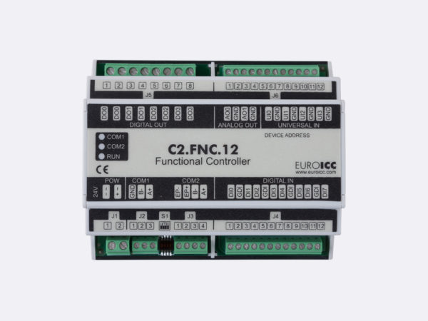 PLC Controller for Guest Room Management System, Smart Hotel Control and Home Automation – BACnet programmable functional controller BACnet PLC – C2.FNC.12 designed for wide range of building automation  and guest room management system tasks – 4 relay outputs, 8 digital inputs, 2 analog outputs, 4 universal inputs