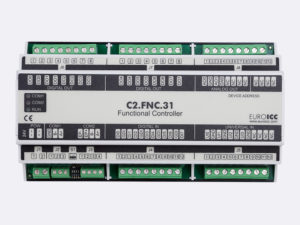 PLC Controller for Guest Room Management System, Smart Hotel Control and Home Automation - BACnet programmable functional controller BACnet PLC – C2.FNC.31 designed for wide range of building automation and guest room management system tasks -8 relay outputs, 8 digital inputs, 2 analog outputs, 4 universal inputs