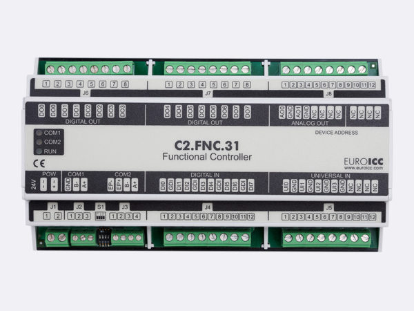 PLC Controller for Guest Room Management System, Smart Hotel Control and Home Automation – BACnet programmable functional controller BACnet PLC – C2.FNC.31 designed for wide range of building automation  and guest room management system tasks -8 relay outputs, 8 digital inputs, 2 analog outputs, 4 universal inputs