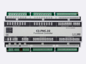 PLC Controller for Guest Room Management System, Smart Hotel Control and Home Automation - BACnet programmable functional controller BACnet PLC – C2.FNC.32 designed for wide range of building automation and guest room management system tasks -8 relay outputs, 8 digital inputs, 2 analog outputs, 6 universal inputs