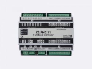 The BACnet programmable functional controller BACnet PLC - C2.FNC.11 designed for wide range of building automation tasks - 4 relay outputs, 8 digital inputs, 6 universal inputs