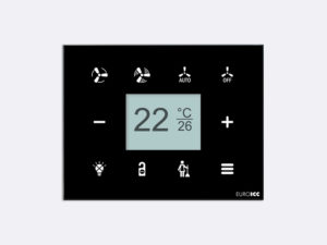 Smart Programmable Intelligent wall touch panel for Guest Room Management System, Smart Hotel Control, Home Automation and Building Automation - RD.RDA.10 - Customizable Intelligent Room Thermostat designed for wide range of Building Automation and Guest Room Management System tasks