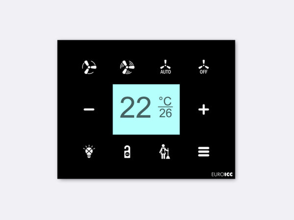Smart Programmable Intelligent wall touch panel for Guest Room Management System, Smart Hotel Control, Home Automation and Building Automation – RD.RDA.10 – Customizable Intelligent Room Thermostat   designed for wide range of Building Automation and Guest Room Management System tasks
