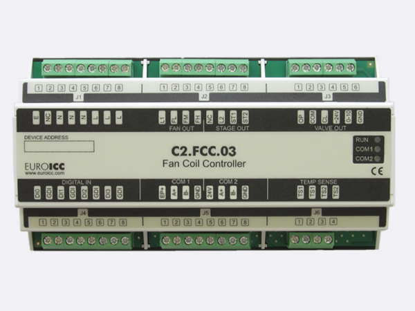 PLC Controller for Guest Room Management System, Smart Hotel Control and Home Automation – BACnet programmable functional controller BACnet PLC – Fan coil controller C2.FCC.03 is a universal FCU   controller designed for use in two-pipe applications. On primary communication channel (RS485), various communication protocols are supported