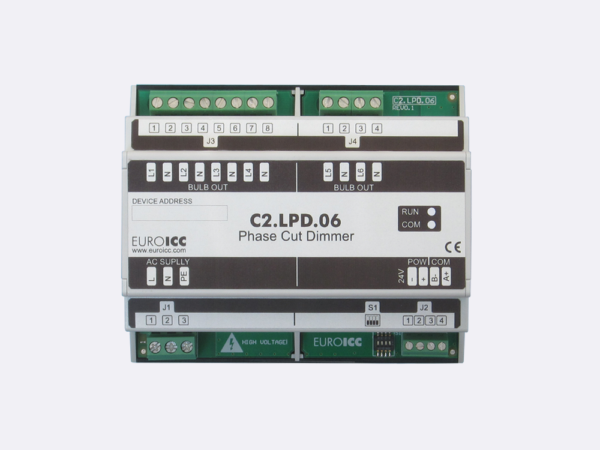 PLC Controller for Guest Room Management System, Smart Hotel Control and Home Automation – BACnet programmable functional controller BACnet PLC – Lighting Phase Cut Dimmer C2.LPD.06 is a programmable and   configurable Leading or Trailing edge phase cut dimmer designed for wide range of building automation  and guest room management system tasks. Up to 6 channels phase cut dimmer