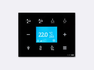 Smart Programmable Intelligent wall touch panel for Guest Room Management System, Smart Hotel Control, Home Automation and Building Automation - RD.RDA.11 - Customizable Intelligent Room Thermostat designed for wide range of Building Automation and Guest Room Management System tasks
