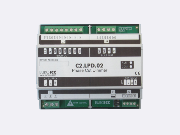 PLC Controller for Guest Room Management System, Smart Hotel Control and Home Automation – BACnet programmable functional controller BACnet PLC – Lighting Phase Cut Dimmer C2.LPD.02 is a programmable and   configurable Leading or Trailing edge phase cut dimmer designed for wide range of building automation  and guest room management system tasks.Up to 2 channels phase cut dimmer